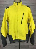 Novara Bike Wear Jacket Windbreaker Size XL Yellow Black Full Zip Waterproof