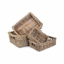 Shallow Kubu Grey Rattan Rectangular Basket