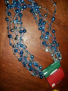 Christmas Garland Blue Silver  Beaded 12 ft. New w/Tags