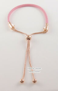 PINK LEATHER Genuine PANDORA Rose GOLD plated Adjustable Bracelet 589002C01 NEW!