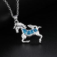 New Elegant Gift Fashion Women Opal Necklace Jewelry Chain Unicorn Pendant