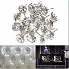 20pcs 20 x 33mm Sofa Headboard Wall Decor Tacks Crystal Charm Upholstery Nails