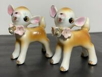"Vtg Ceramic Fawn Deer 3"" Figurines With Pink Flowers And Gold Trim Japan"