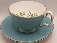 Aynsley Vtg. Pembroke pattern Gold trim China Footed Tea Cup w/ Saucer Turquoise