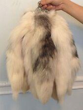 """18""""-20"""" Real Genuine Fur Tassel Bag Tag Accessory keyring Charm White Fox Tail"""