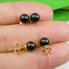 Black Onyx Gemstone 6mm Round Ball Stud Earrings - Gold Plated