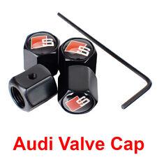 Audi Valve Cap S Line Car Logo Black Anti-Theft Wheel Tire Stem Air Dust Cover