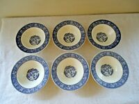 """Vintage Set of 6 Blue & White Small Ceramic Bowls """" BEAUTIFUL COLLECTIBLE SET """""""