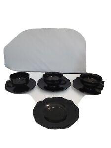 Black Amethyst Depression Glass Cup & Saucer Set
