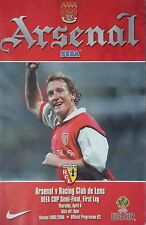 Programm UEFA Cup 1999/00 Arsenal FC - Racing Club de Lens