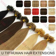 100s Fusión Queratina U/Uña 9A Remy indio extensiones del pelo humano recta