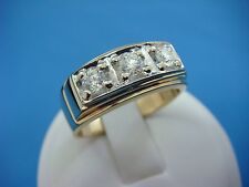 14K GOLD 3 HIGH QUALITY DIAMONDS 0.70 CT CLASSIC MEN'S RING, SIZE 10 1/2, 8.4 GR