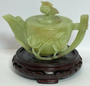 Antique Chinese Jade Carving Tea Pot Statue East Asian Sculpture on Wood Stand