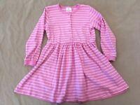 Hanna Andersson Playdress Dress 130 Girls Pink Striped Long Sleeve