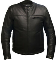 Leather Motorcycle Motorbike Jacket Biker Black CE Armoured - Skintan
