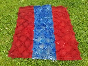 3.8 X 4.2ft. Red and Blue Color Small Turkish Vintage Wool Shaggy Tulu Rug