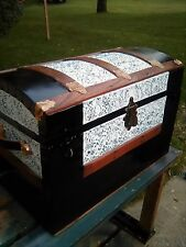 BlackDog Antique Dome Top  Steamer Trunk Victorian Wood Chest Stagecoach C:1800