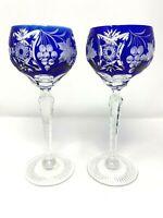 2 Ajka Marsala Cobalt Blue Cut To Clear Crystal Wine Hock Goblet Glass