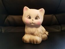 Vintage ceramic cat with pink cheeks kitten antique cute kitty adorable figurine