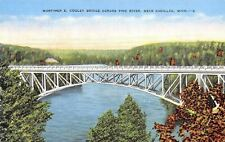 Cadillac Michigan~Mortimer E Cooley Bridge Across Pine River~1940 Postcard