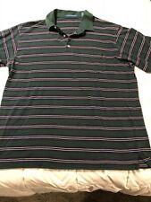 Mens Claybrooke  Polo Shirt Size XXL Green Striped Short Sleeve