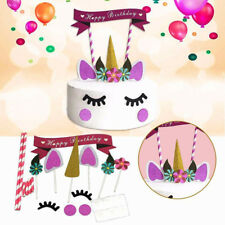 Cute Unicorn Cake Flags Banner Cake Cupcake Bunting Happy Birthday Party Decor