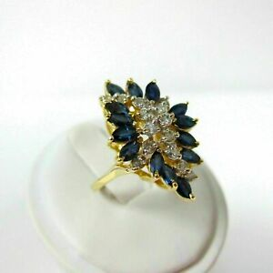 2.20CT Marquise Cut Blue Sapphire Wedding Engagement Ring 14K Yellow Gold Finish
