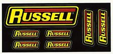 "RUSSELL Sticker Decals ... Set of 7 on one sheet ... Largest is  4.5"" x 1.25"""