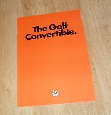 Volkswagen VW Golf Mk1 Convertible Brochure 1980-1981 GLi & GLS