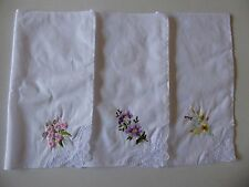 3 Embroidered Ladies Cotton Handkerchiefs With Lace Trim