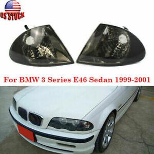Pair Corner Signal Light Housing Smoke Black Lens Fit BMW E46 Sedan 1998-2001