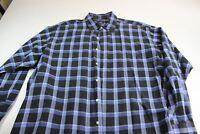 Polo Ralph Lauren Golf Bluish Plaid Long Sleeve Shirt XL 17.5 x 36/37