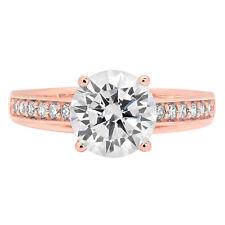 2.01ct Round Cut Accent Statement Engagement Wedding Bridal Ring 14K Rose Gold