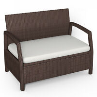 Outdoor Rattan Loveseat Bench Couch ChairPatio Furniture Brown W/ Cushions New