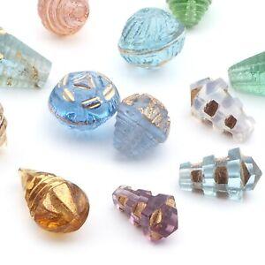 Lot (12) antique Art Deco Czech gold gilt geometric pendant headpin glass beads