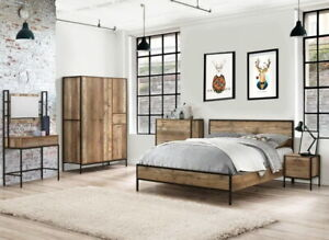 Hoxton Urban Rustic Bedroom Furniture Range Bed Frame Drawers Wardrobe    BLPD