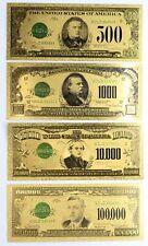 Gold Notes $500 $1,000 $5,000 $100,000 Federal Reserve Set 24k Plated Set of 4