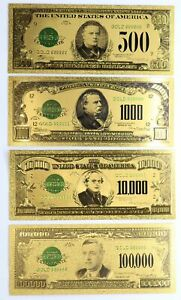 Gold Notes $500 $1,000 $10,000 $100,000 Federal Reserve Set 24k Plated Set of 4