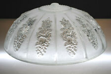"""VINTAGE FROSTED GLASS FLORAL & GRAPE DESIGN LAMP SHADE 11-1/4"""" ROUND"""