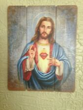 """Sacred Heart of Jesus"" Pallet Sign, 12x15"" New in box! Mezmerizing!"