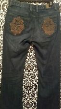 Disney Parks Mickey Mouse Jeans Sz 6 Denim Boot Cut Gold Embroidered World