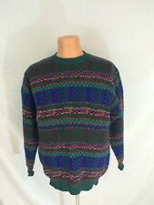 Vintage 1990s Mens Benetton Sweater Multi Color Striped Shetland Wool Cosby