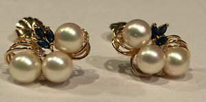 Antique 14CT Solid Gold Pearls Diamond W/ Sapphire Earrings