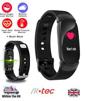 Smart Fitness Tracker Watch in Black with Heart Rate + Blood Pressure UK seller