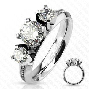 Titanium 1.5 Carat CZ Milled Band 3-Stone Anniversary Engagement Ring Size 5-9