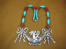 (v499-1) large Cherub angel Red Cinnabar carved wood + turquoise beaded Necklace