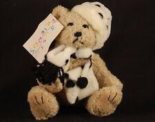 "Brown Teddy Bear Black White Scarf Hat Hand Bag 6"" Plush Just Friends WT Lovey"