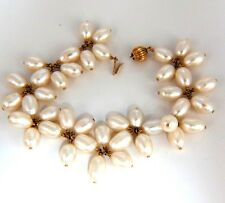 10mm natural freshwater pearls cluster linked bracelet 14kt+
