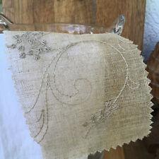 """stoffdesign!""SALE% RICOMBO*Leinen flax  bestickt Blüten Meterware Nya Nordiska"