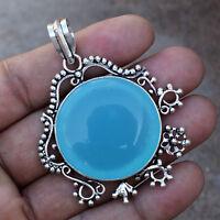 Chalcedony Gemstone Solid Handmade Pendant Free Shipping P0063